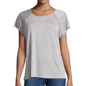 VINCE knit tee shirt top heather grey mesh inserts